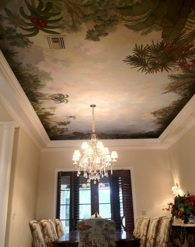 Decorative Ceiling Mural Painting And Scenic Design Wall