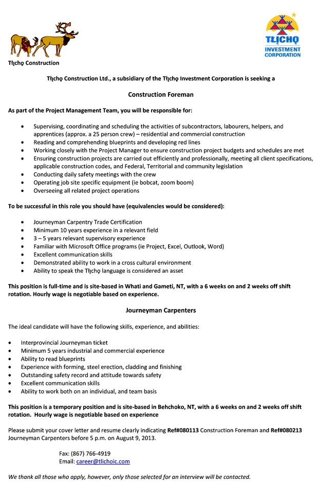 Resume Construction Template Foreman
