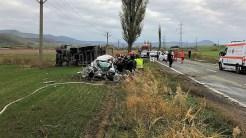 Accident rutier mortal, produs pe DN 22 D, între localitățile Măcin și Cerna. FOTO ISU Tulcea