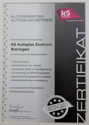 Zertifikat KS Autoglas Partner