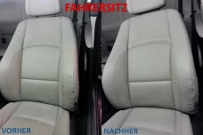 Fahrersitz VORHER - NACHHER Lederprofi bei Fahrzeugpflege Massler