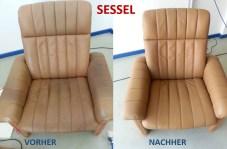 Sessel VORHER - NACHHER Lederprofi bei Fahrzeugpflege Massler