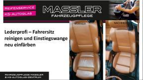 Lederprofi bei Fahrzeugpflege Massler - Fahrersitz reinigen und Einstiegswange neu einfärben