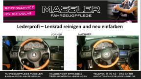 Lederprofi bei Fahrzeugpflege Massler - Lederlenkrad reinigen und neu einfärben