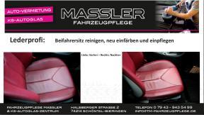Mercedes SLK Lederaufbereitung des Beifahrersitzes durch Lederprofi bei Fahrzeugpflege Massler