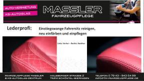 Mercedes SLK Lederaufbereitung der Einstiegswange des Fahrersitzes durch Lederprofi bei Fahrzeugpflege Massler