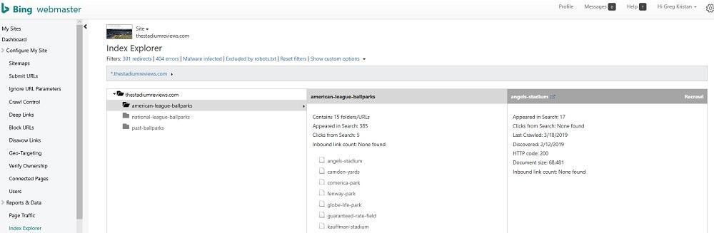 Index Explorer in Bing Webmaster Tools