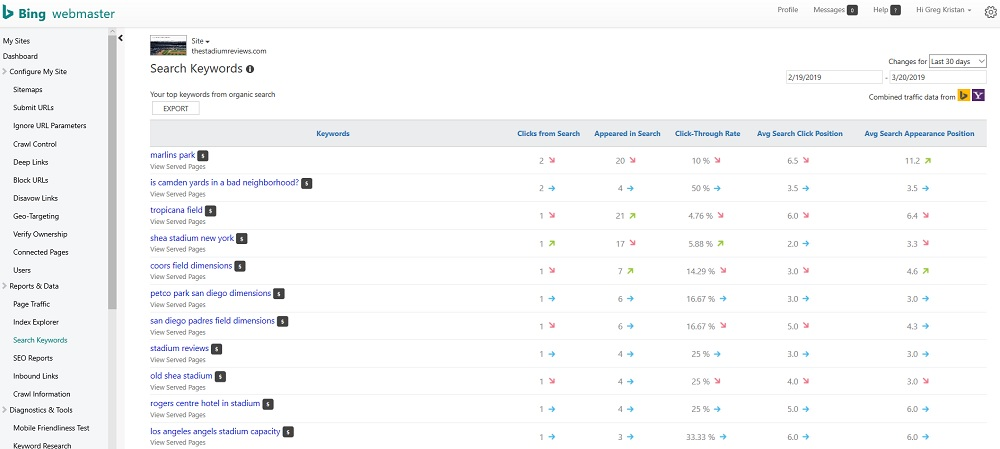 Search Keywords in Bing Webmaster Tools
