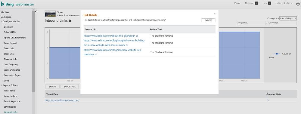 inbound links in Bing Webmaster Tools