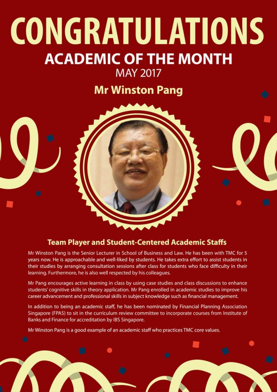 Mr Winston Pang - TMC Academic of the Month May 2017