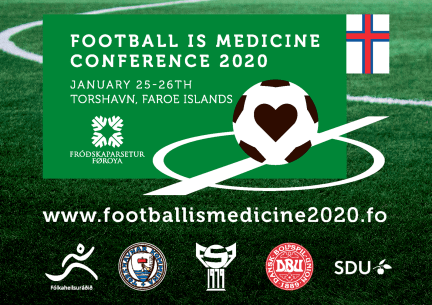 Announcement of Football is Medicine Conference 2020 courtesy @VisitFaroeIslandsMeetings