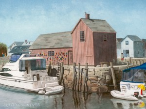 Boats Watercolor by David Jones