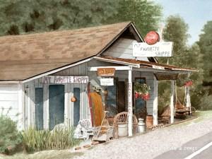 Favorite Shoppe, a Watercolor by David G Jones