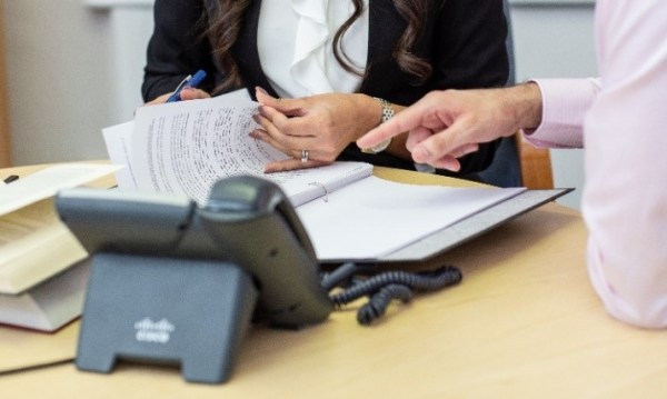 A solicitor receiving instructions