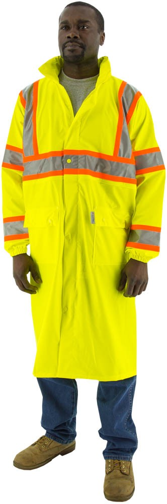 HIGH VISIBILITY WATERPROOF RAIN COAT WITH DOT STRIPING, ANSI 3