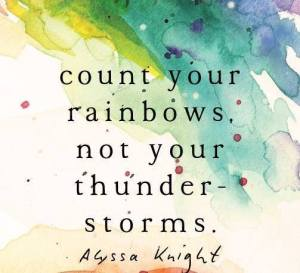 """Count your rainbows, not your thunderstorms."" -Alyssa Knight"