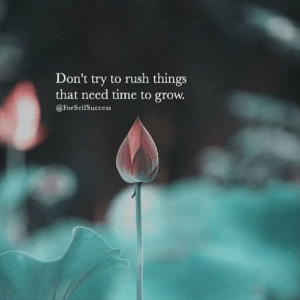Don't try to rush things that need time to grow. @ForSelfSuccess