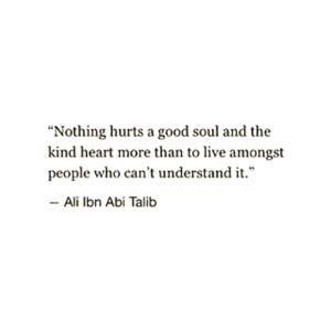 """Nothing hurst a good soul and the kind heart more than to live amongst people who can't understand it."" -Ali Ibn Abi Taib"