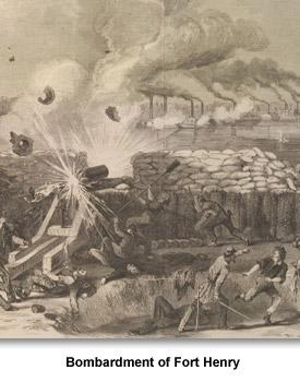 Image result for Henri Lovie bombardment at Fort Henry sketch