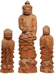 Standing Fudo Myo'o (Acala) with two child attendants