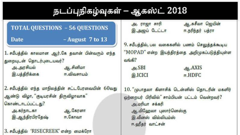 TNPSC Current Affairs August 2018 Part-2