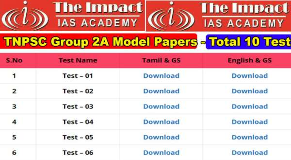 TNPSC Group 2 Model Papers