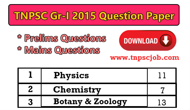 Download TNPSC Group 1 Question Paper 2015 in Pdf