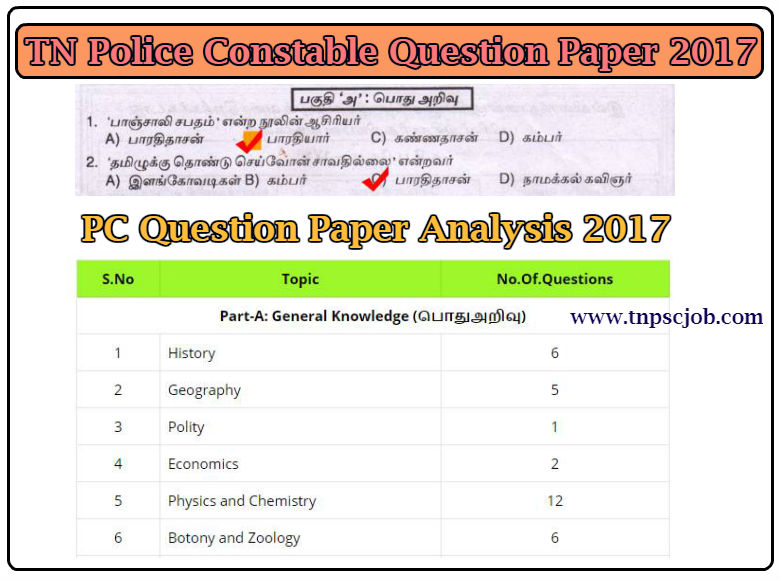 TNUSRB Police Constable 2017 Question Paper with Answer Key