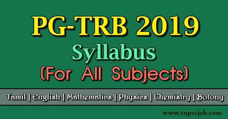 PG TRB Syllabus 2019 | TN TRB Post Graduate Assistants
