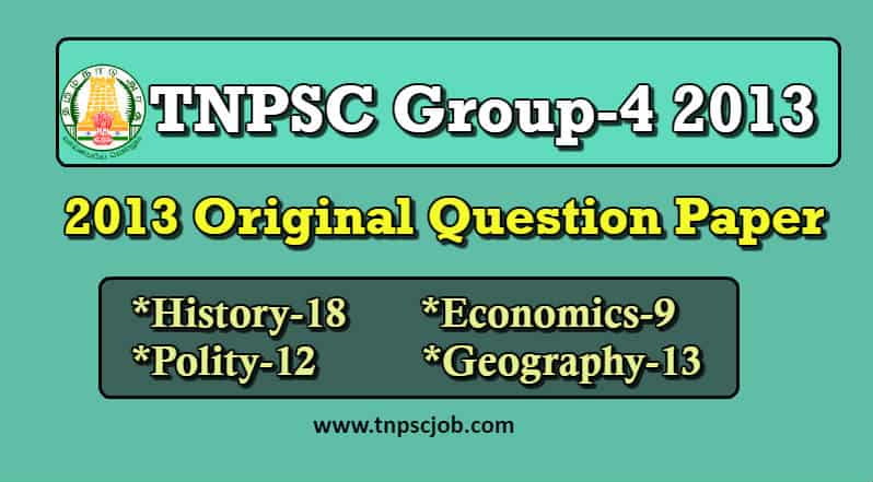 TNPSC Group 4 2013 Question Paper with Answer in Tamil Pdf