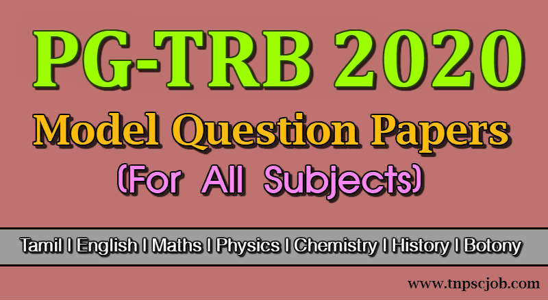 PG TRB Model Question Paper with Answer in Tamil Pdf 2020