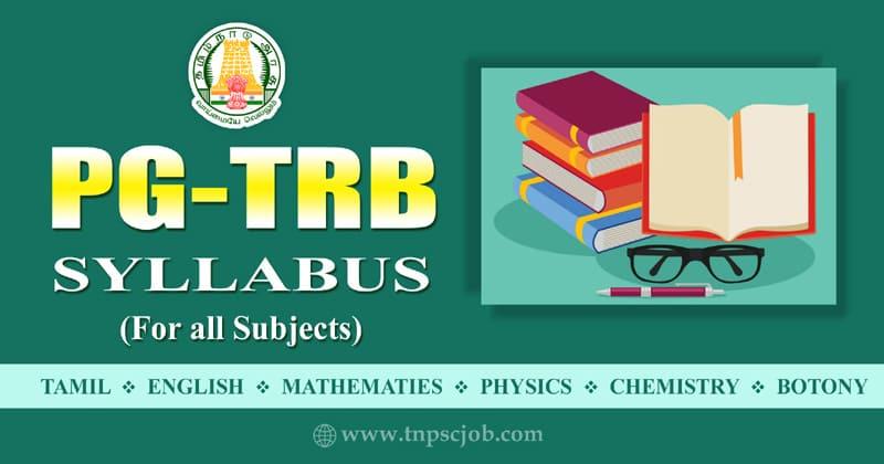 PG TRB Syllabus in Tamil Pdf 2020