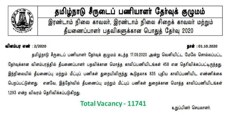 TNUSRB Police Constable Vacancies Increased