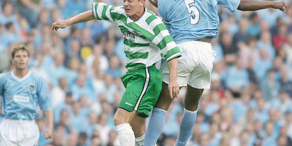 Manchester City v TNS UEFA Cup. pic is Sylvain Distin and Nicky Ward