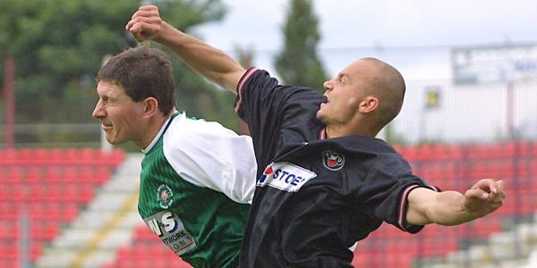 Polonia Warsaw v TNS in the UEFA Cup. pic is Timmy Edwards and Pawel Kaczorowski