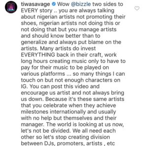 """Stop Creating Division"" – Tiwa Savage Claps Back At Popular PR Agent, Bizzle"