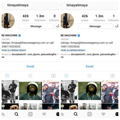 Timaya Finally Finds Only One Person Worth Following On Instagram, Who is King Perryy (@kingperryy)?