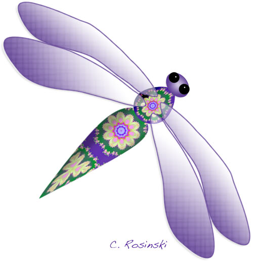 Dragonfly In Purple And Green