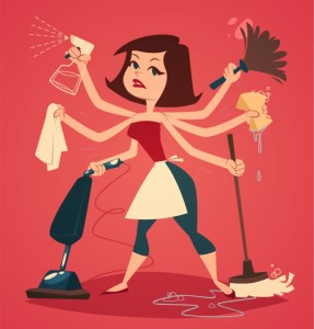 Woman washing and cleaning. Household series vector illustration