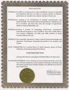 North Charleston Mayor Proclamation