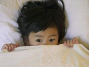 scared asian kid