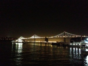 The Bay Bridge at night with awesome light displays.