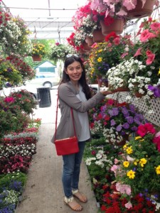 My bright red Celine Trio bag blended in nicely with the vibrant colors from all of the flowers at the market.
