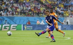 That kick action by Honda scored Japan's goal.