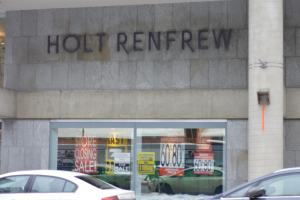 Outside the Holt Renfew in Ottawa with its liquidation signs.
