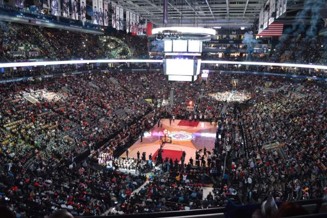Crowd and court shot of the opening ceremonies for the Raptors 20th Anniversary retro night.