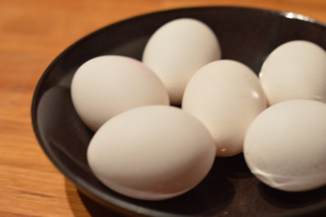 Six eggs sitting in a bowl that have been blown out and ready to be dyed.