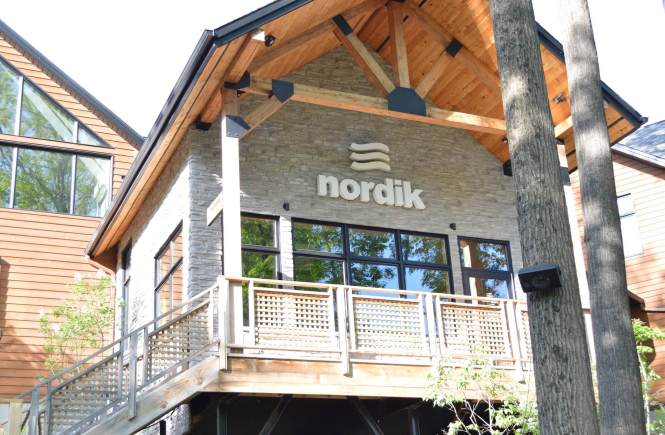 Shot of the entrance to Nordik Nature Spa