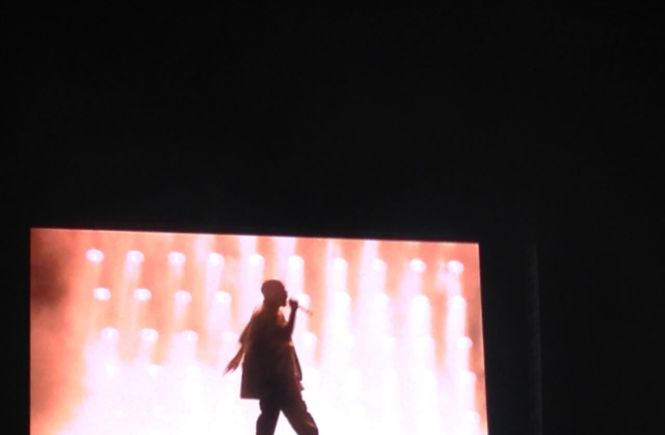 Photo of Kanye West performing on stage at Bluesfest.
