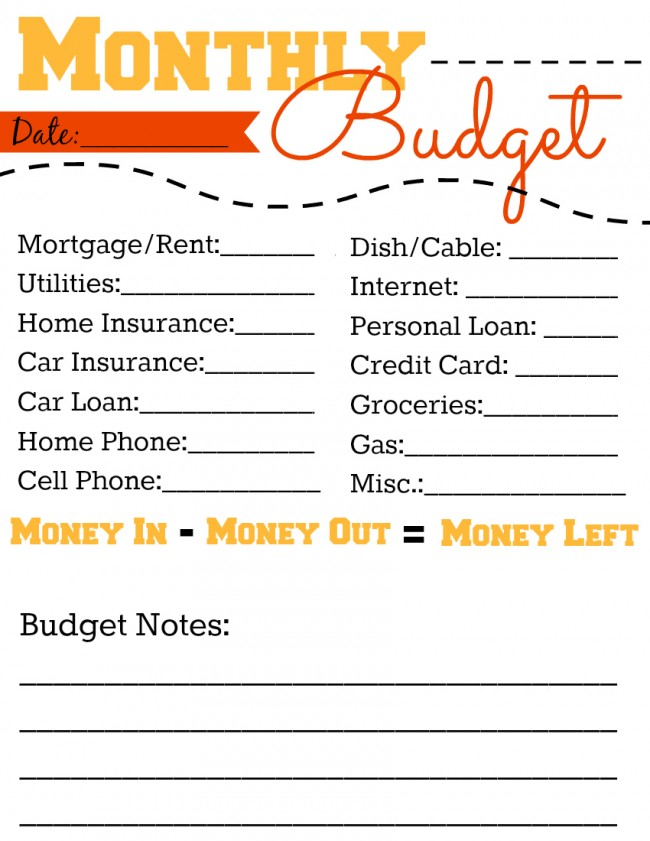Free Monthly Budget Printable Worksheet